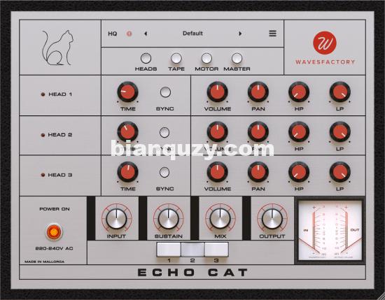 磁带模拟延迟效果器 – Wavesfactory Echo Cat 1.0.0 WIN